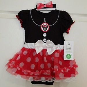Minnie mousse bodysuit with headband size 9 months